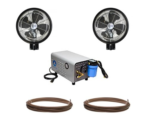 18'' Oscillating HIGH PRESSURE -  2 Misting Fans, enclosed Pump and Tubing Wall Mount Misting Kit by Advanced Systems