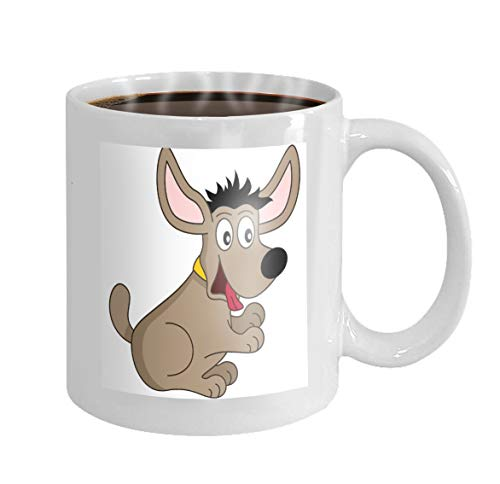 11 oz Coffee Mug cute cartoon brown dog collar funny isolated white eps file available Good Novelty Ceramic Gifts Tea Cup