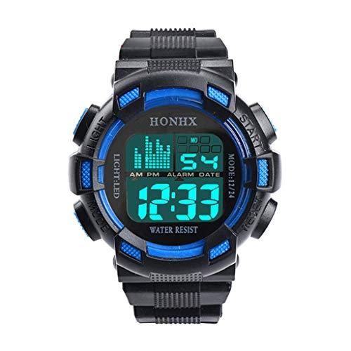 Fxbar, Men Sport Watch LED Screen Automatic Watch Analog Quartz Alarm Date Sports Wrist Watch(A)