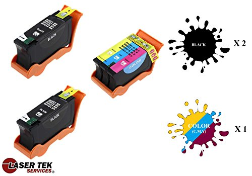 Laser Tek Services Compatible Ink Cartridge Replacements for Dell Series 21, Series 22, and Series 23 (Black, Color, 3-Pack) ()