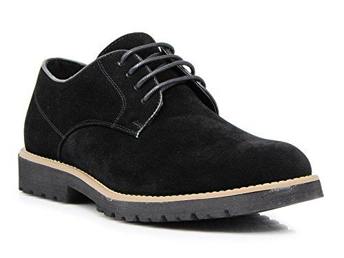 Classic Plain Suede Oxfords Lace Up Shoes (9, Black) (Lace Up Suede Oxfords)