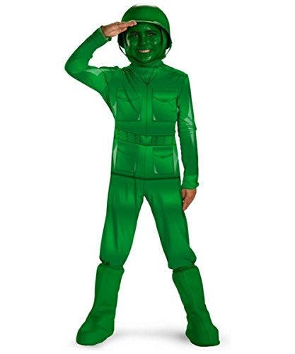 Army Men Costume - Green Army Man Deluxe Costume, Child M(7-8)