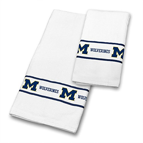 Michigan Wolverines COMBO Shower Curtain, 4 Pc Towel Set & 1 Window Valance - Decorate your Bathroom & SAVE ON BUNDLING! by Sports Coverage