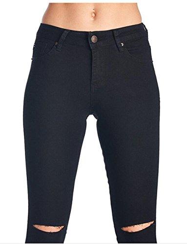Maigre Lastique Jeans Crayon Coin Pantalon Brod Jeans Slim Petit Aux Femmes Noir Jeans Brod Crayon 0P4W0Uq
