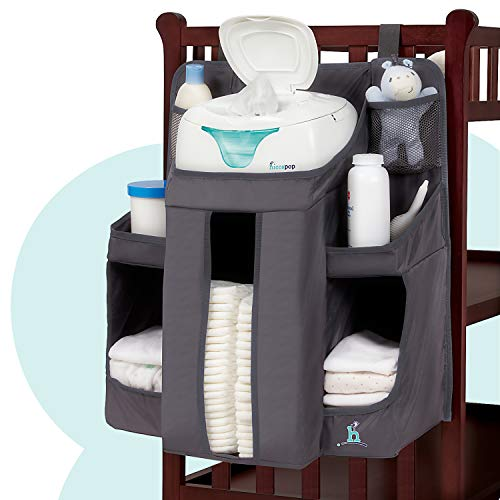 hiccapop Nursery Organizer and Baby Diaper Caddy | Hanging Diaper Organization Storage for Baby Essentials | Hang on Crib, Changing Table or Wall ()