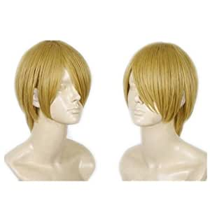 COSPLAZA Cosplay Costume Wigs short blonde Halloween Party Full Hair with Free Cap One Piece Sanji