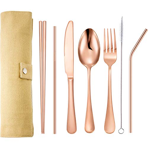Tatuo 7 Pieces Portable Stainless Steel Flatware Set Travel Cutlery Silverware Set Reusable Utensils with Case, Stainless Steel Knife Fork Spoon Chopsticks Straws (Rose Gold)