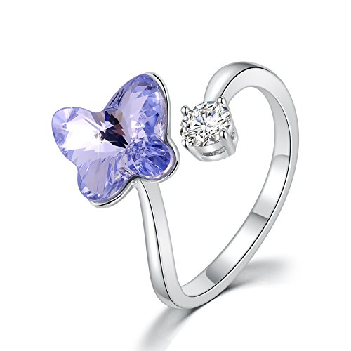PLATO H Adjustable Butterfly Purple Crystal Rings Butterfly Rings with Swarovski Crystal, Butterfly Crystal Gem Stone Rings, Butterfly Purple Crystal Gem Stone Rings, Adjustable Statement Rings