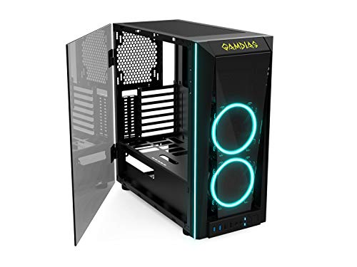 GAMDIAS RGB Gaming Mid-Tower Case Left Tempered Glass Two LED Strip Switchable IO Port with Two RGB Fans Cases TALOS M1, Black