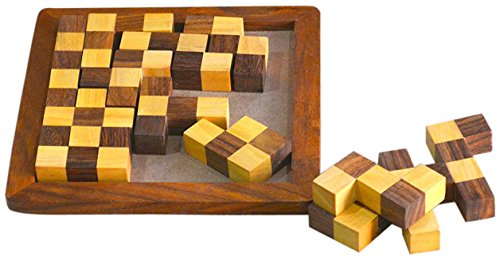 SKAVIJ Indian Handmade Wooden Pentominoes puzzle 13 Pieces Brain Teasers Problem Solving Creative Educational Toys Game - 6.5 Inch (Pentominoes Teaser Brain Puzzle)