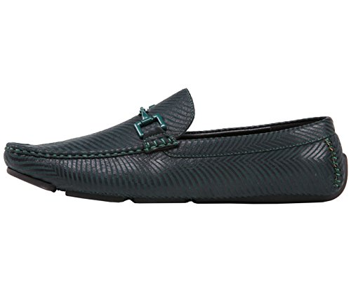 Amali Mens Moccasin Loafer Driving Shoes In Graphic Patent, and Metallic Design Styles Zed/Monty/slink Green