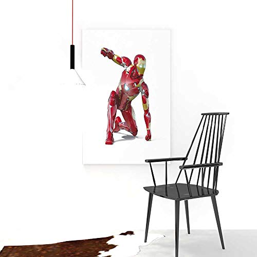 Auraise-home Wall Art FramelessSuperhero Robot Transformer Hero with Superpower in Costume Cyber Man Fun Character for Living Room, Bedroom,Hotel and so on W24 x H32