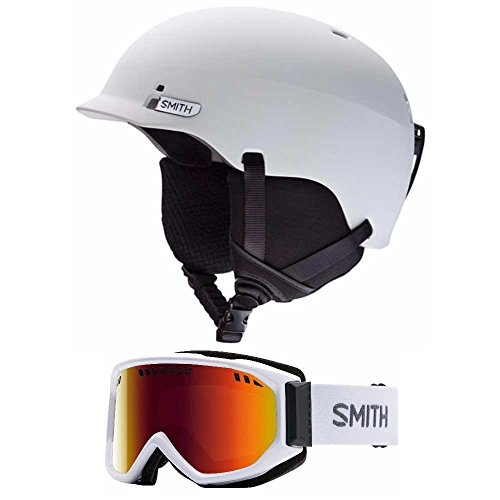 Smith Optics White Gage Unisex Ski Helmet & Scope Snow Goggle (Choose Your Size Helmet and Goggle Color) (White/Red Sol X Goggle, - Discount Smith Optics
