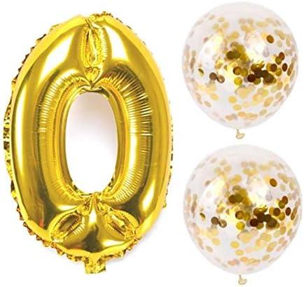 お誕生日パーティー 風船 飾り付け バルーンx2 数字(0)バルーン ゴールドx1 風船セット(QQ-000)