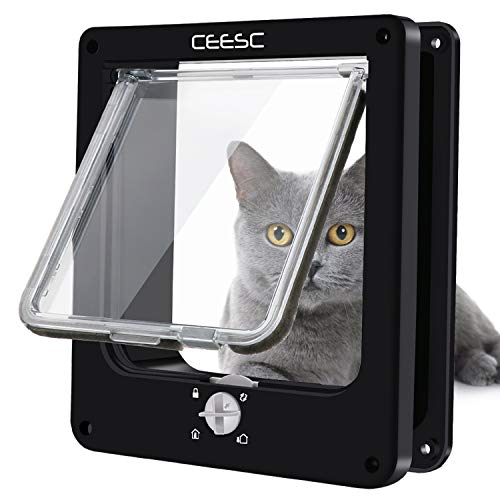 Door Electromagnetic Cat - CEESC Cat Doors, Magnetic Pet Door with Rotary 4 Way Lock for Cats, Kitties and Kittens (Medium, Black)
