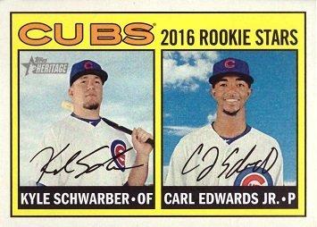 2016 Topps Heritage Baseball #161 Kyle Schwarber / Carl Edwards Jr. Rookie Card
