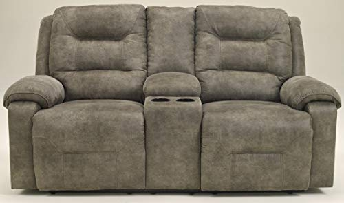 - Ashley Furniture Signature Design - Rotation Recliner Loveseat with Console - Pull Tab Manual Reclining Sofa - Contemporary - Smoke Gray