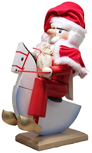 Pinnacle Peak Trading Company Steinbach SIGNED Rocking Horse Santa German Wooden Christmas Nutcracker (Steinbach Signed)