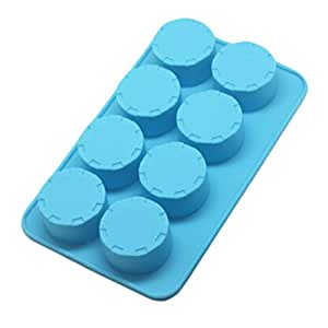 Set of 2 Safe And Soft Silicon Ice Cube Tray With Cylinder Pattern, Blue