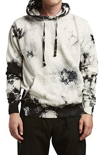(InfiniTee Mens Unisex Premium Fleece Hoodie Soft Tie Dye Vintage Wash (xs, White Black tie dye))