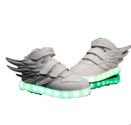 Price comparison product image Littlepanda Kid boy girl LED light up sneaker athletic wings shoe High Student dance Boot USB Charge (3 M US little kid, white)