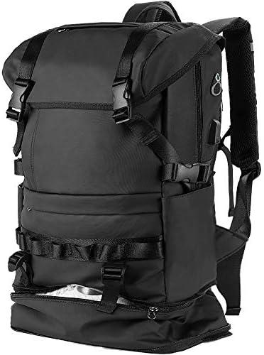 Sendida リュックサック 大容量 メンズ スクエア リュック - 防水 バックパック Men Backpack スクエア リュックサック 靴/傘収納 撥水加工 A4収納 多ポケット スポーツ USBポート付き 15.6インチ PC 40L 通勤 通学 多機能 バッグ - ブラック