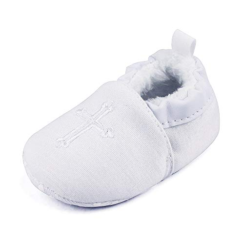 Baby Boys Girls Warm Boots Soft Sole Christening Baptism Church Cross Slipper Loafers Infant Crib Shoes, 0-3 Months by Estamico