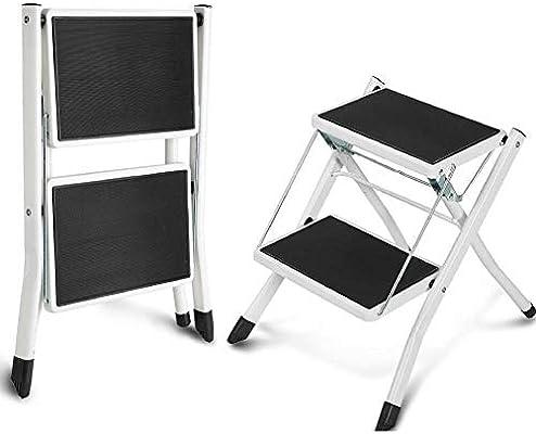 Escalera taburete plegable antideslizante, 2 peldaños capacidad de carga de 120 kg escalera de acero Robuste taburete escalera práctica: Amazon.es: Bricolaje y herramientas