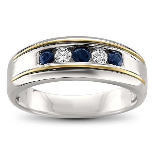 14k Two-Tone White & Yellow Gold Round Diamond & Sapphire Men's Wedding Band Ring (1/2 cttw, H-I, I1-I2), Size 11 14k Two Tone Diamond Band