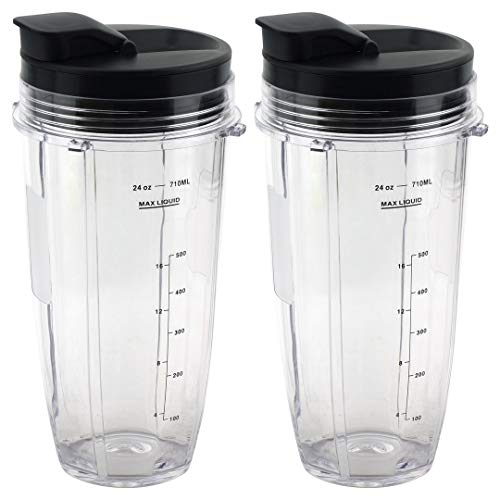 2 Pack 24 oz Cups with Spout Lids Replacement for Nutri Ninja BlendMax DUO with Auto-iQ Boost