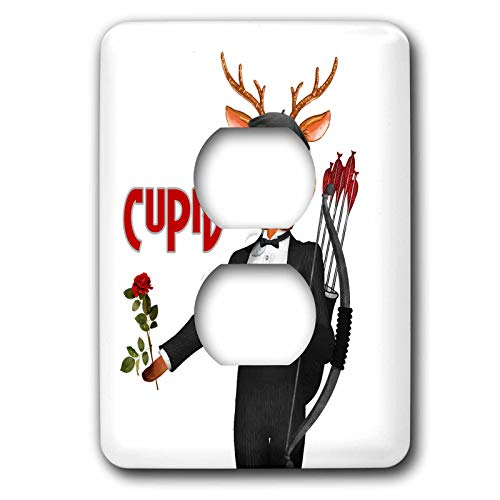 3dRose Doreen Erhardt Christmas Collection - Cupid the Romantic Reindeer a Christmas Portrait - Light Switch Covers - 2 plug outlet cover (lsp_290908_6) (Cupid Reindeer)