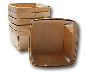 Pint Square Vented Wooden Berry Baskets - Set of 6