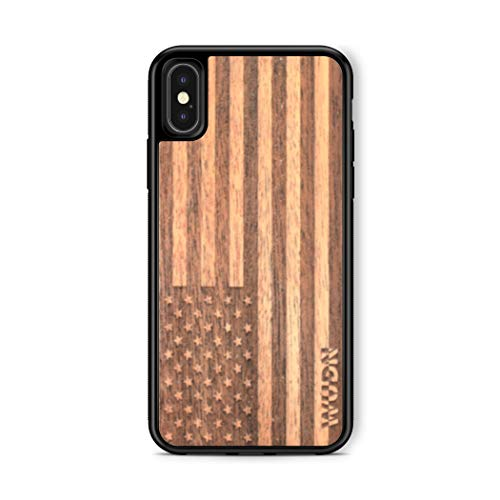 Mahogany Wood Case - Wooden Phone Case (American Flag in Mahogany) Compatible with iPhone X, iPhone Xs
