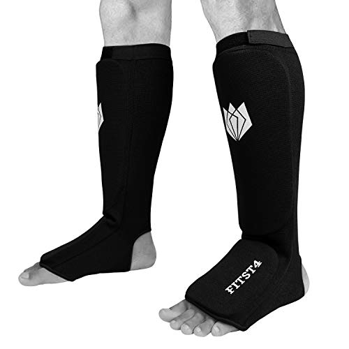 - FitsT4 Kickboxing MMA Muay Thai Instep Padded Elastic Training Sparring Shin Guards Protector (1 Pair) M