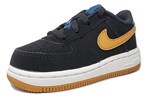 outlet store 80706 bc97f Nike Toddler Air Force 1 Black Ochre-Blue Force 596730 053 (10C)