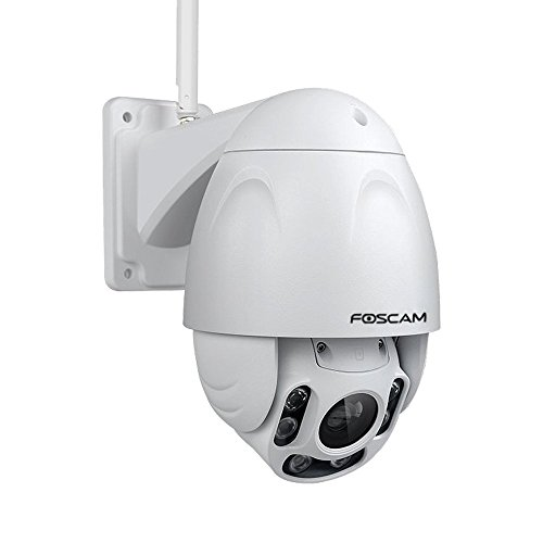 Foscam Outdoor PTZ (4x Optical Zoom) HD 1080P WiFi Security Camera - Pan Tilt Wireless IP Camera with Night Vision up to 196ft, IP66 Weatherproof Shell, WDR, Motion Alerts, and More (FI9928P),White