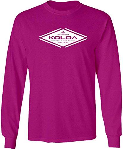 Koloa Diamond 107 Logo Long Sleeve Cotton T-Shirt-4XL-Sangria/w