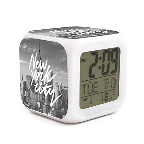 DHBVNMQHHT Alarm Clock Wake Up Bedroom with Data and Temperature Display (Changable Color) Size L8cm x W8cm xH8cm New York Conference Design