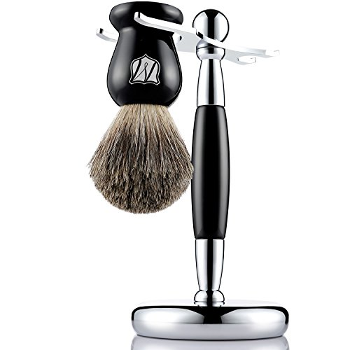 The Art Of Shaving Brush Stand (Miusco Pure Badger Hair Shaving Brush and Luxury Stand Shaving Set, Black)