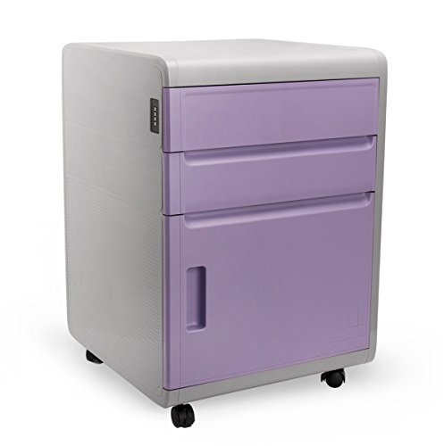 3 Drawer Mobile File Cabinet with Combination Lock, EVERTOP Storage Unit Cupboard ABS Plastic Filing Cabinet with Wheels for Office Home Studies Bedroom