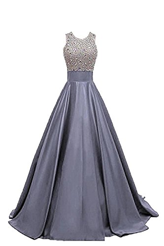 MALL Crystal Party BRL Long Dresses Beadings Satin Gowns ZP352 Prom Grey Women's Prom dqpSfpB