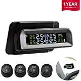 Favoto TPMS Car Tire Pressure Monitoring System Solar Power Universal Wireless with 4 External TPMS Sensors Real Display Tire Pressure & Temperature (14.5-72PSI/1-5Bar)