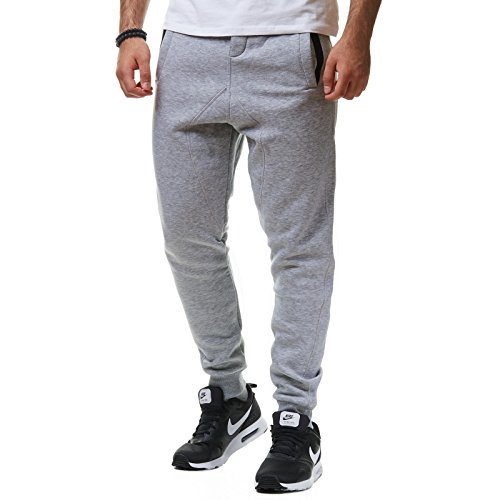 Young & Rich Herren Jogginghose Sweatpants Birds grau L