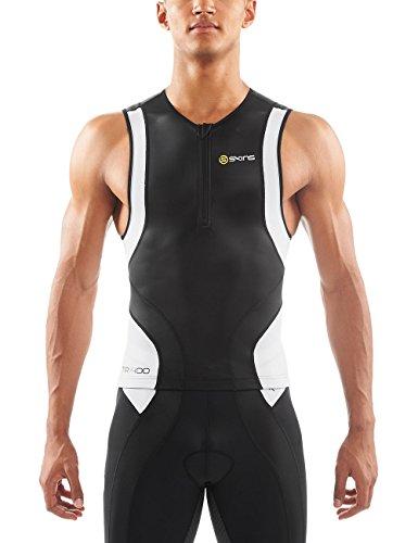 SKINS Men's Tri 400 Sleeveless Triathlon Top with Zip, Black/White, - Triathlon Skins Shorts