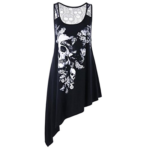 TOTOD Women Tops Fashion Women Plus Size U Neck Skull Printed Asymmetric Hollow Out Tank Top Vest ()