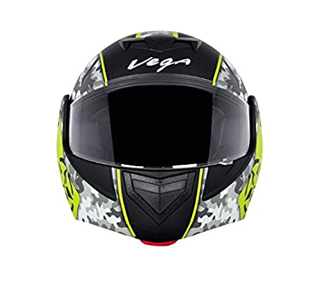 f6dbd9ed Vega Crux DX Full Face Helmet (Camouflage Dull Black and Neon Yellow, M):  Amazon.in: Car & Motorbike