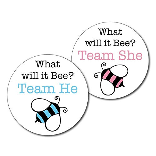 36 2.5 inch Bumble Bee Team He and She Gender Reveal Party Stickers - What will it be -