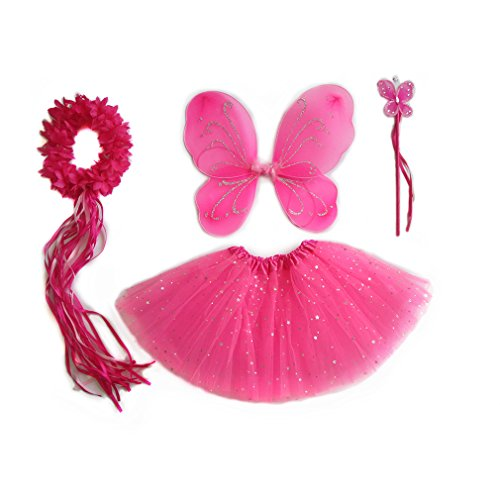 Fairy Butterfly Wing Wand Headband Tutu Skirt Party Costume For Girls Dess Up (Neon (Halo 3 Costumes For Kids)