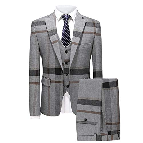 MAGE MALE Men's Plaid Suit Slim Fit 3-Piece Suit One Button Blazer Dress Business Wedding Party Jacket Vest & Pants ()