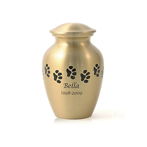 Majestic Urn - OneWorld Memorials Pet Paw Bronze Pet Urn - Small - Holds Up To 40 Cubic Inches of Ashes - Bronze Gold Pet Cremation Urn for Ashes - Engraving Sold Separately